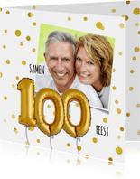 Uitnodiging stip ballon 100 - SG