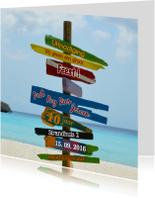 uitnodiging strand paal kleur
