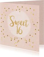Uitnodigingen - uitnodiging sweet 16 party confetti