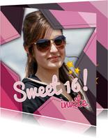 Uitnodiging Sweet 16 ster