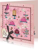 Uitnodiging Tea Party Roze strepen Taart