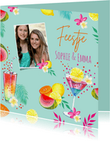 Uitnodiging tropicalfeestje cocktails