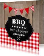 Uitnodiging tuinfeest BBQ houtprint slinger