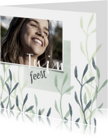 Uitnodiging tuinfeest met foto en plantjes