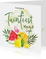 Uitnodiging tuinfeest met fruit en botanische bladeren