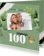 Uitnodiging tuinfeest samen 100 groen foto confetti