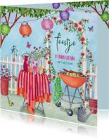 Uitnodiging tuinfeestje met BBQ in vrolijke kleuren