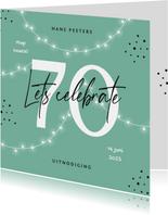 Uitnodiging verjaardag 70 jaar man vrouw slingers confetti