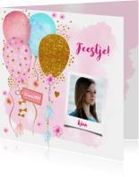 Uitnodiging verjaardag ballonnen