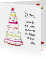 Uitnodigingen - Uitnodiging verjaardag BIRTHDAY CAKE CliniClowns