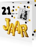 Uitnodiging verjaardag  fotokaart leeftijd aanpasbaar