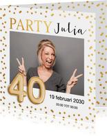 Uitnodiging verjaardag gouden confetti ballon 40 jaar