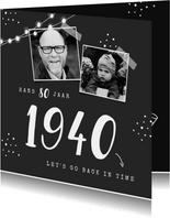 Uitnodiging verjaardag met jaartal foto's en stipjes
