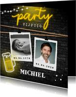 uitnodiging verjaardag neon bier party geel zwart