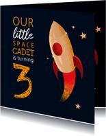 Uitnodiging verjaardag spacecadet kinderfeestje
