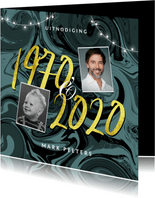 Uitnodiging verjaardag verf trendy 1970 2020 50 jaar