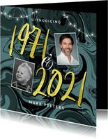 Uitnodiging verjaardag verf trendy 1971 2021 50 jaar