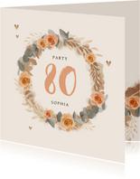 Uitnodiging verjaardag vrouw bloemen klassiek goud