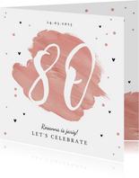 Uitnodiging verjaardagsfeest 80 jaar vrouw verf hartjes