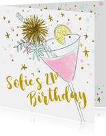 Uitnodiging verjaardagsfeest cocktail hip
