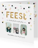 Uitnodiging verjaardagsfeest pastel confetti goud letters