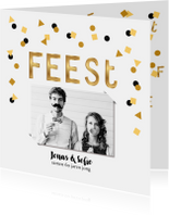 Uitnodiging verjaardagsfeest letter confetti goud