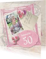 Uitnodiging verjaardagsfeest vrouw foto rozen