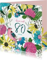 Uitnodiging verjaardagsfeestje botanisch bloemen en vogel