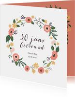 Uitnodiging vijftig jarig huwelijks jubileum bloemen
