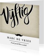 Uitnodiging vijftig vintage man met snor