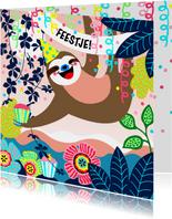 Uitnodiging voor een kinderfeestje met een luiaard