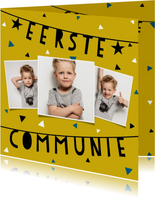 Uitnodiging voor eerste communie met slingers en confetti