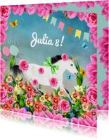 Uitnodiging voor kinderfeestje met eenhoorn en bloemen