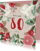 Uitnodiging winter bloemen en duiven