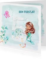 Uitnodiging zeemeermin 5e verjaardag
