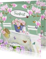 Uitnodigingskaart Bloemen tuinfeest