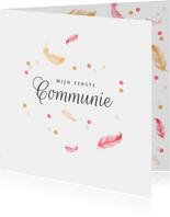 Uitnodigingskaart communie lentefeest veertjes confetti
