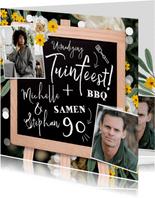 Uitnodigingskaart met krijtbord, bloemen en confetti