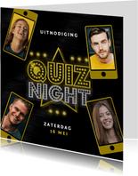 Uitnodigingskaart quiz night vrienden familie goud mobiel
