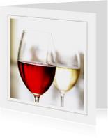 Uitnodigingskaart rode en witte wijn