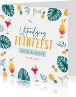 Uitnodigingskaart tuinfeest tropisch cocktails zomer