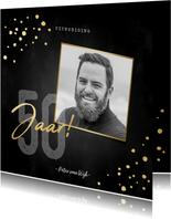 Uitnodigingskaart verjaardag 50 jaar gouden spetters en foto