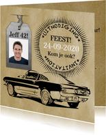 Uitnodigingskaart vintage stoer