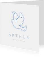 Uitnodigingskaart voor doopviering met duif