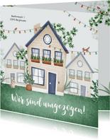 Umzugskarte Häuser & Lichterketten
