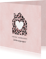 Umzugskarte Haus mit Herz Leopardenprint