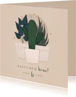Umzugskarte mit Kaktus, Pflanzen & Herzchen