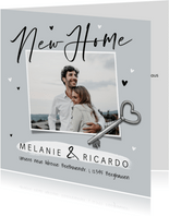 Umzugskarte 'New Home' mit Foto und Schlüssel