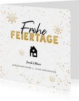 Umzugskarte Weihnachten Frohe Feiertage Haus & Schnee