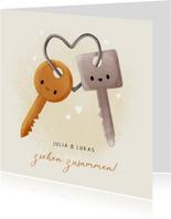 Umzugskarte zusammenziehen Schlüsselbund Herz